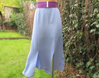 2530d97317 Big Size Skirt / Skirt Vintage / Large / Pale Violet / Blue Steel / Size  EUR48 X UK 20 / With 6 Slits
