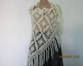 WARM WHITE SCARF Triangular Wool Acrylic Wrap White Hand Knitted