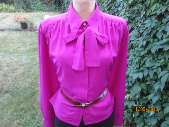 Buttoned Blouse  Blouse Magenta  Womens Blouse  Womens Blouse  Blouse Size EUR42  UK14  Pockets  Blouse Vintage