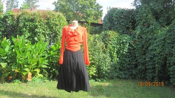 Big Woolen Skirt / Black Pleated Skirt / Pleated S