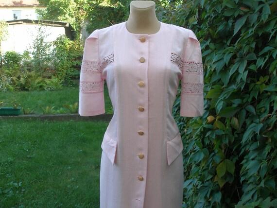 Pencil Linen Dress / Pink Pencil Dress / Dress Vin
