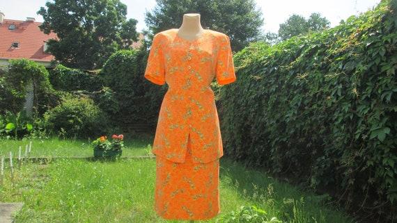 Silk Skirt Suit / 2 PC Skirt Suit / Orange Skirt S