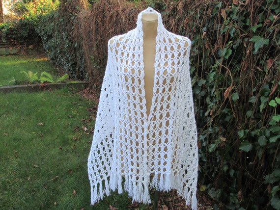 Long Wool Scarf / Hand Knitted / Warmer / White /