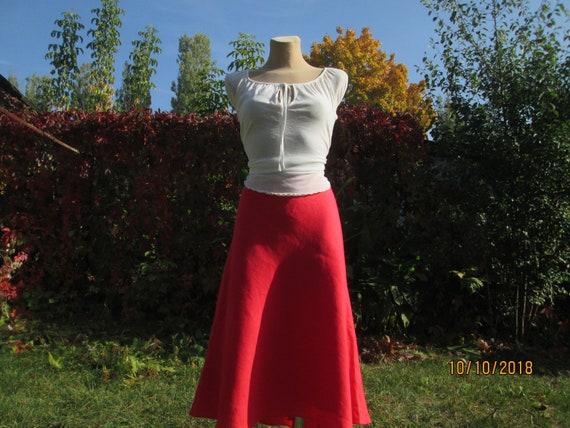 Linen Red Skirt / A Line Skirt / Linen Skirts / Sk