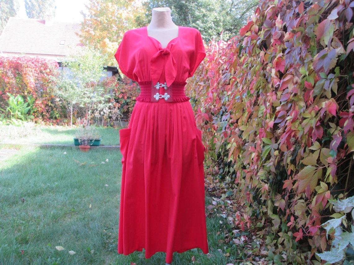 Long Red Dress / Dress Vintage / Maxi Dress / Size42 / UK14 /