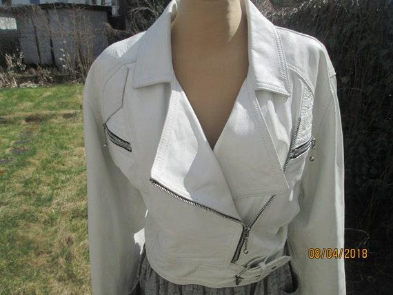 Leather Jacket / Womens Leather Jacket / White Lea