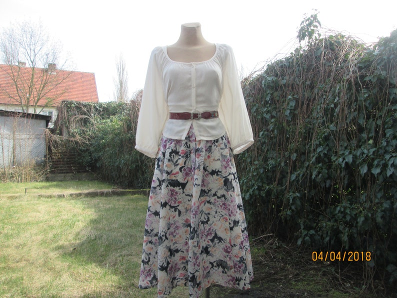 Buttoned Skirt  Skirt Vintage  A Line Skirt  Full Skirt  Elastic Waist Skirt  Size EUR40  42  UK12  14  Long  Midi