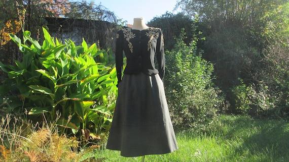 Woolen Skirt Pockets / Gray Wool Skirt / Skirt Vin