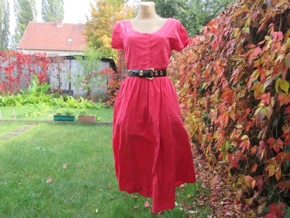 Cotton Dress / Dress Vintage / Pink Cotton Dress /