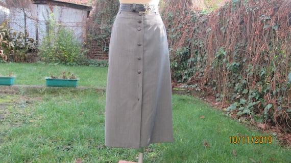 Buttoned Wool Skirt / Long Wool skirt / Wool Skirt