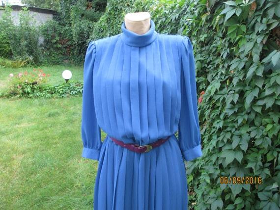 Pleated Dress / Blue Pleated Dress / Dress Vintage