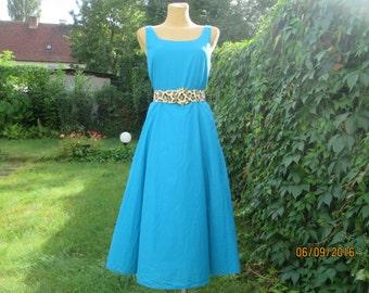 Cotton Dress / Circle Dress / A Line Dress /  Midi Dress / Cotton Circle Dress / Blue Cotton Dress / Blue Circle Dress / Size EUR42 / UK14