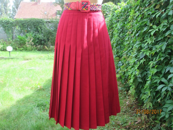 Woolen Pleated Skirt / Pleated Skirts / Skirt Vint