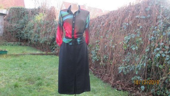 Woolen Skirt Pockets / Skirt Vintage / Slits / Bl… - image 3