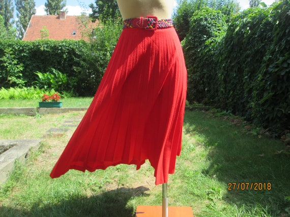 Woolen Pleated Skirt / Red Pleated Skirt / Skirt V