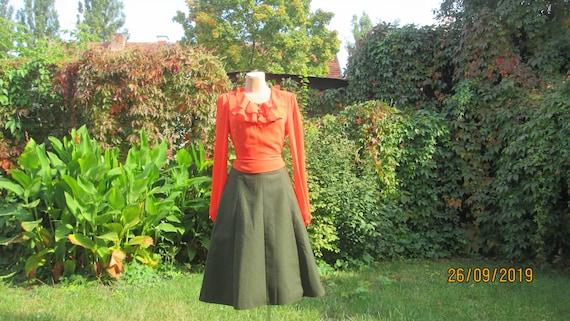 Boiled Wool Skirt / Wool Skirt / Wool Skirt Khaki