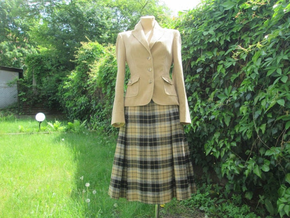 Woolen Pleated Skirt /Wool Skirt / Skirt Vintage /
