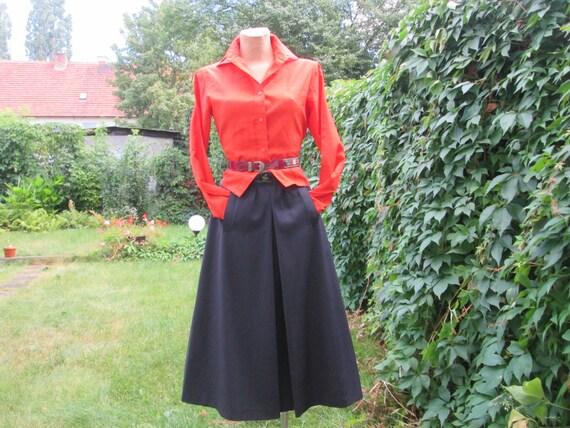 Woolen Skirt Pockets / Wool Skirt / Navy Wool Skir