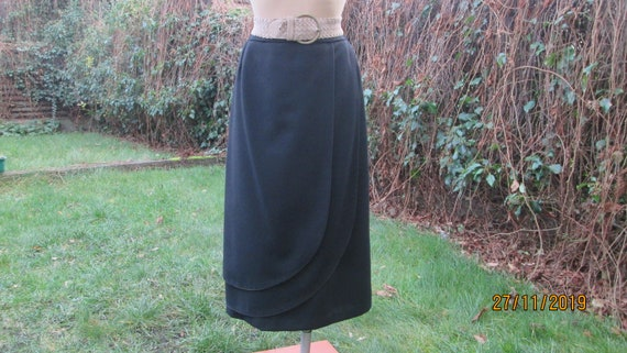 Pencil Wool Skirt / Woolen Skirt / Black Wool Skir