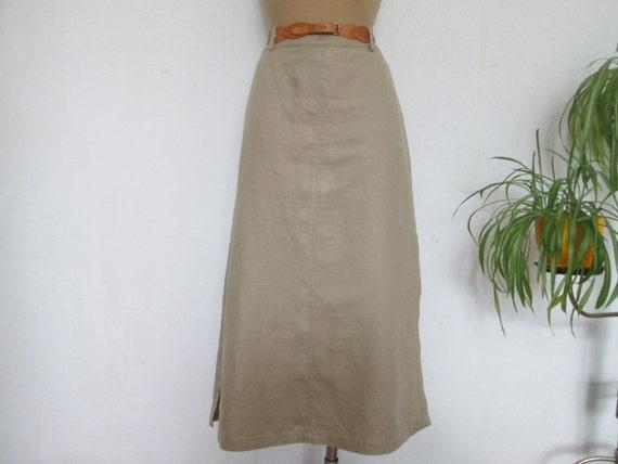Pencil Linen Skirt / Skirt Vintage / Beige Linen S