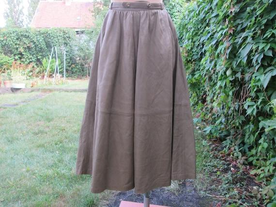 Leather Skirt / Pockets / Skirt Vintage / Full Lea