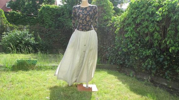 Long Linen Skirt / Buttoned Linen Skirt / Gray Lin