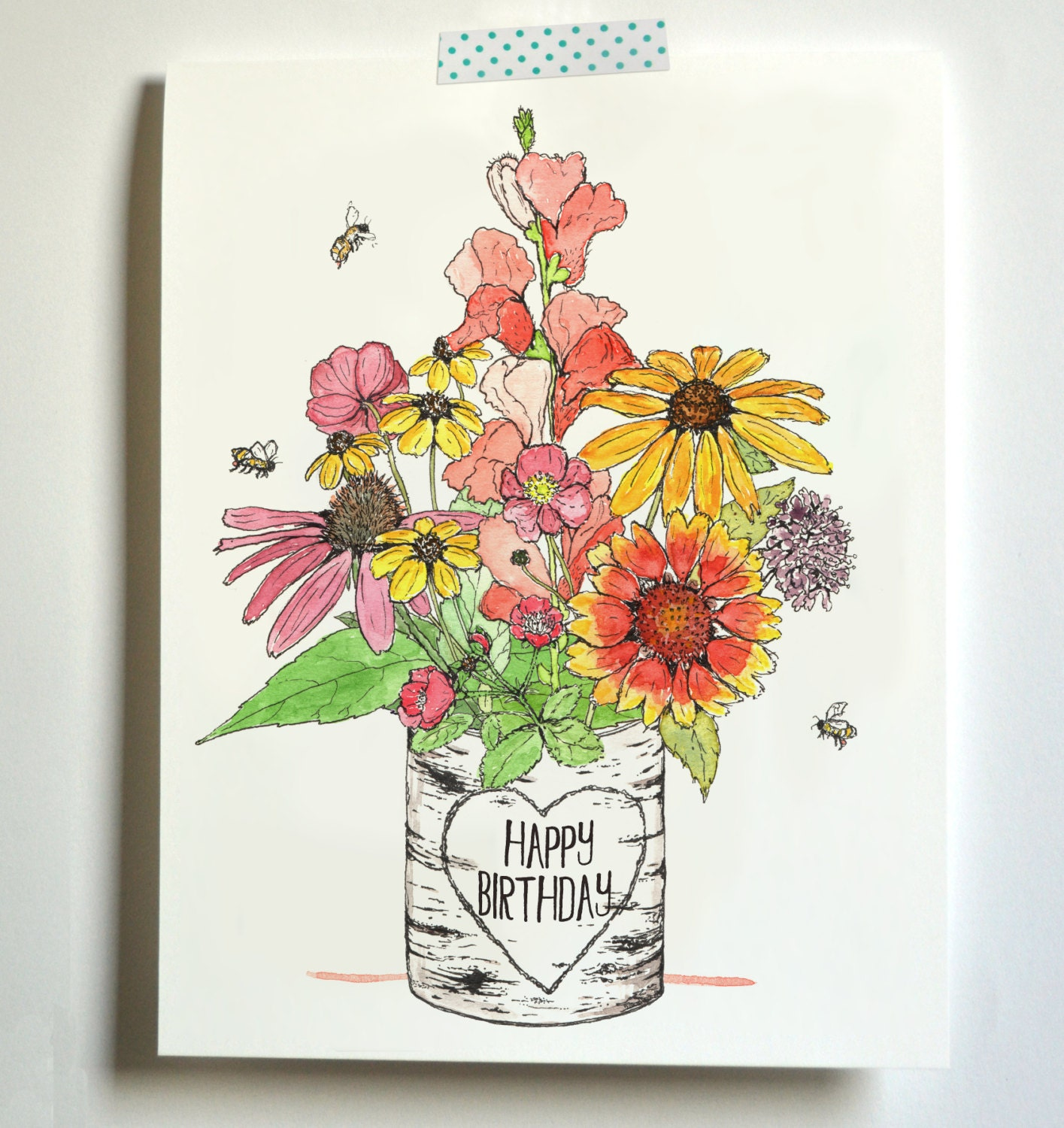 Birthday Bouquet Fancy Flowers Card Etsy