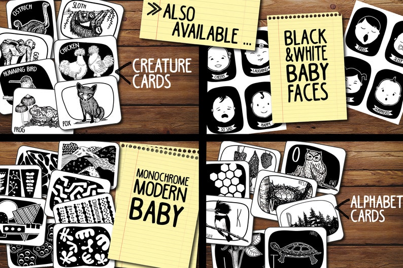 Baby Faces Black and White High Contrast Flash cards for Infants feelings  expressions, printable, instant download