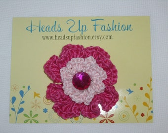 Crochet - Baby pink/hot pink crocheted flower hair clip/with hot pink gem