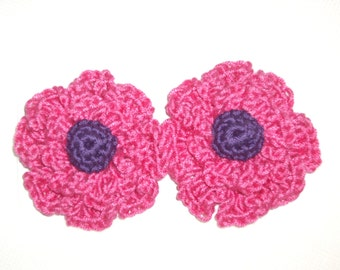 Crochet - Hot pink crocheted flower hair clips/with purple centers  (PHOTO PROP)