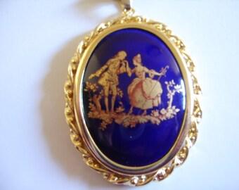Vintage Limoges France Blue Porcelain Pendant Necklace Gift Wedding Bride Graduation