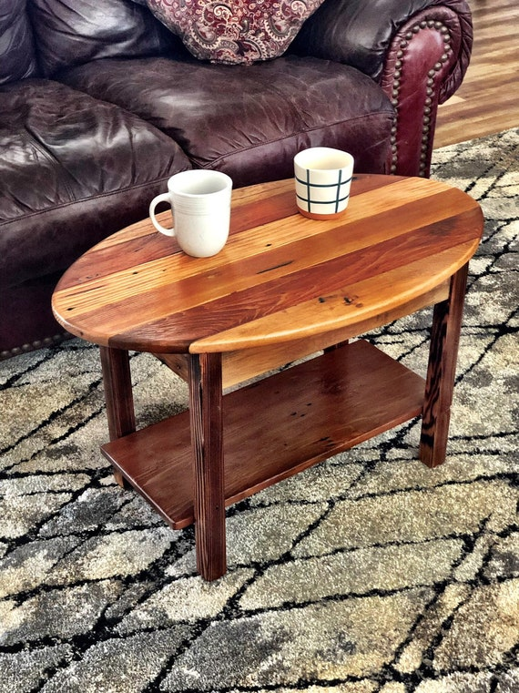 Small Oval Coffee Table Made With Reclaimed Wood Etsy