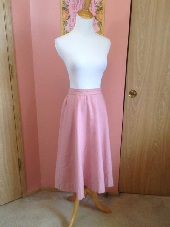 Sock Hop - 1950's/60's Pink Wool Circle/A-line Ski