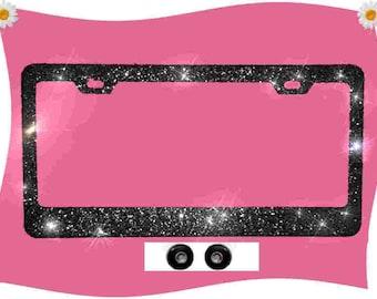 BABY PINK Crystal Rhinestone /& Flowers PALM TREE License Plate Frame Caps