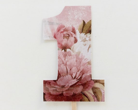 Number one cake topper girl's first birthday topper floral number one cake topper pink one cake topper birthday cake topper first birthday