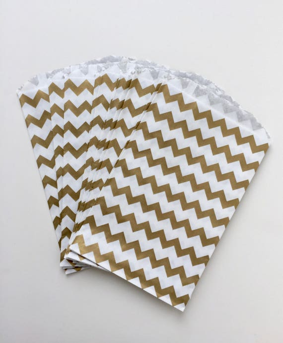 Gold paper bags gold  bags chevron bags Gold favour bags gold treat bag gold birthday party