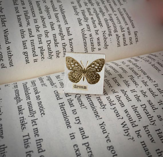 Butterfly Ring gold butterfly ring scrabble tile ring wooden ring decoupaged ring square ring