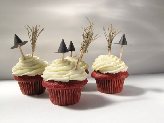Halloween Cupcake Toppers,  Witch hats and brooms cupcake toppers witch cupcake decoration