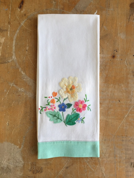 Kitchen tea towel,  vintage applique and embroidered linen tea towel.
