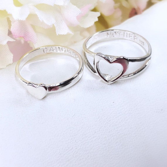 Mother Daughter Set Stackable Rings Personalized Jewelry Etsy