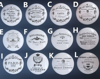 Vintage Handmade Kitchen Knobs /  Shabby Chic Drawer Pulls / French Provincial Farmhouse / Vintage French Advertisements / Black and White