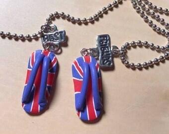 Silver Accented British Flip Flop Best Friends Necklace Set, British Invasion