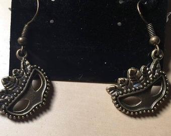 Handcrafted Bronze Alloy Metal Mardi Gras Face Mask Dangle Earrings for Pierced Ears, Steampunk