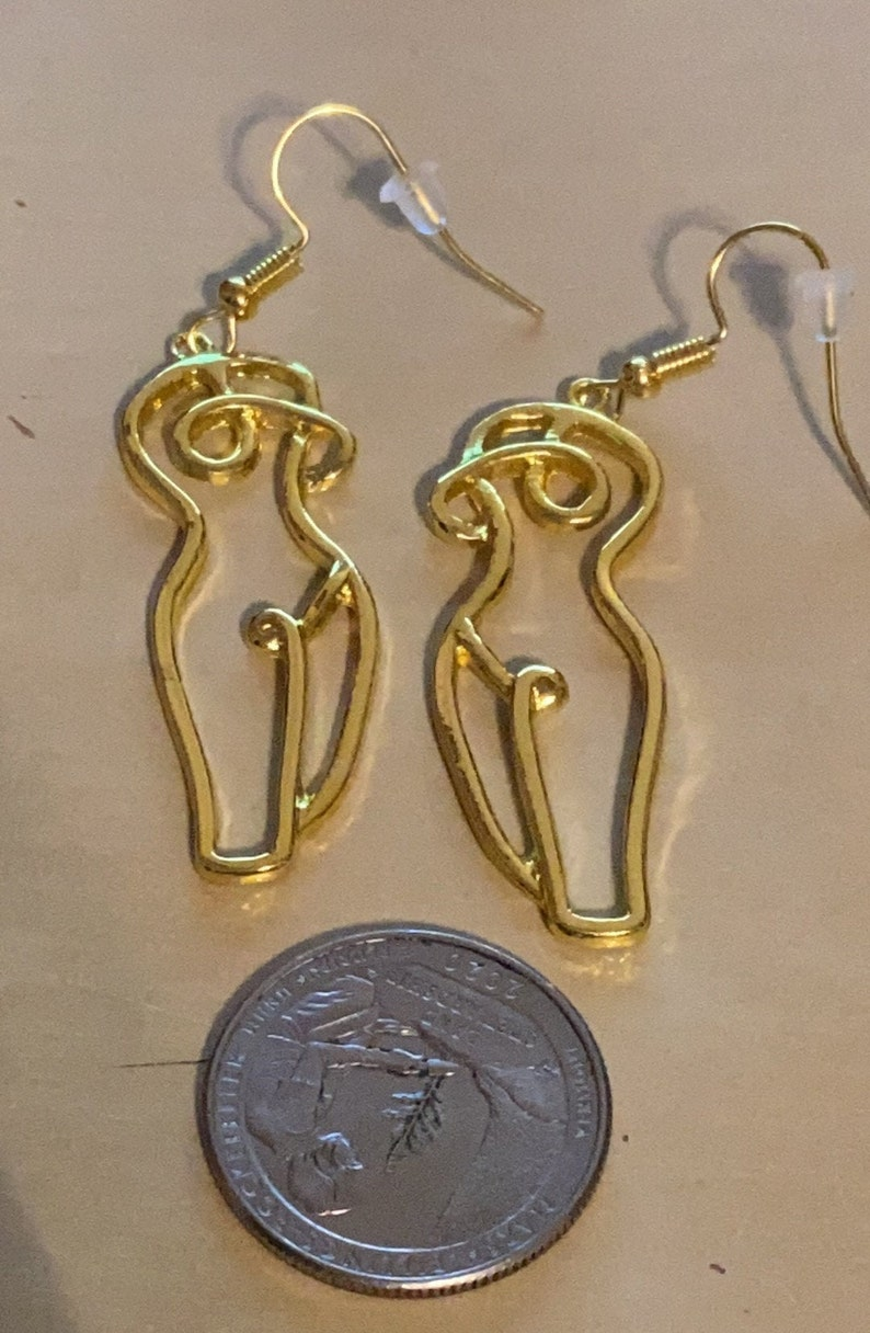 Gold Accented Lightweight Body Positive Female Dangle Earrings