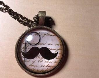 Antique Finished Mustache Dangle Pendant Necklace