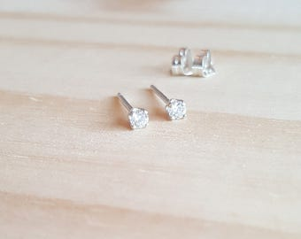 2.5mm tiny stud earring, clear white cubic zirconia gemstone earring studs, simple sterling silver jewelry