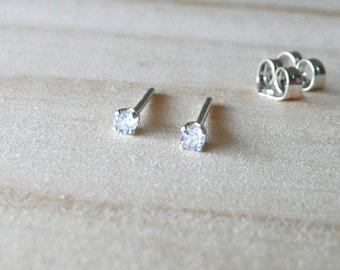 March birthstone earring, aquamarine gemstone earring, 2mm teeny tiny stud earring, light blue gem stud earring, cartilage earring