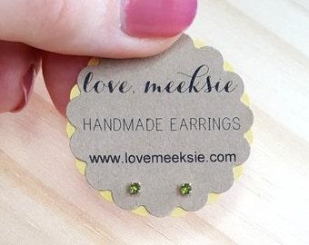 August birthstone earrings, peridot stud earring, 2mm teeny tiny earrings in sterling silver, green peridot gem earring, boho stud earring