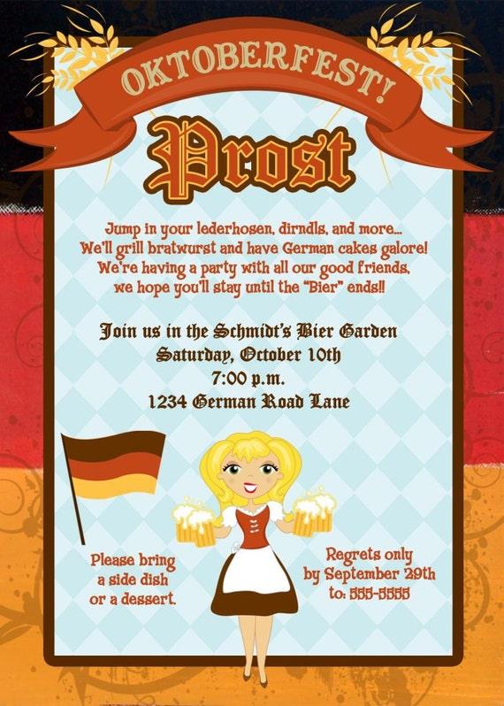 Spersonalizowany Niemiecki Oktoberfest Zaproszenie Wiele Etsy