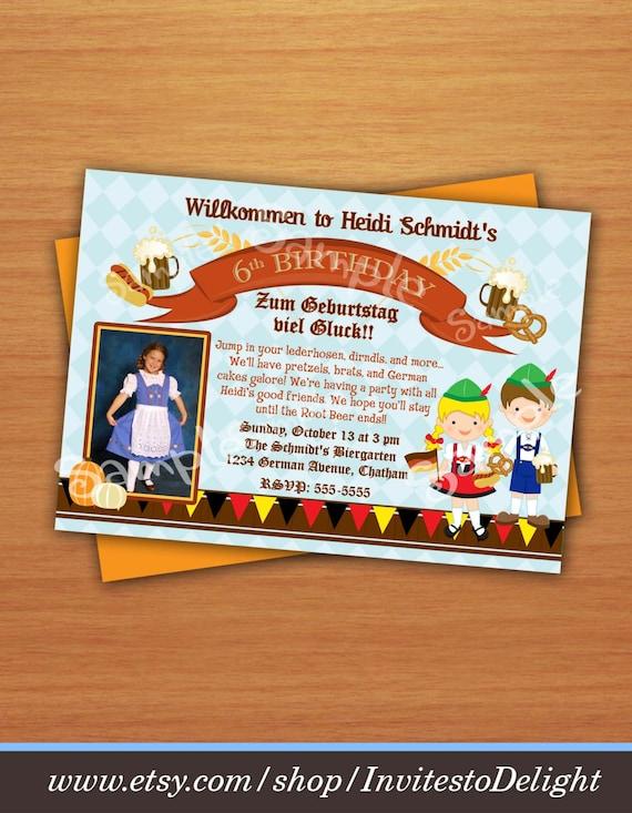 Zdjęcie Osobisty Oktoberfest Niemiecki Zaproszenie Dla Dzieci Etsy